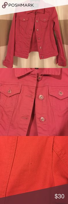 Guess Denim Jacket- Pink Guess Jean Jacket. Pink size medium. Has a little stretch to the material. I noticed a very small flaw on the Jacket but nothing that would keep you from wearing it. See last two pictures. Worn 2-3 times. Guess Jackets & Coats Jean Jackets