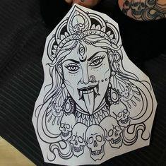God Tattoos, Tattoos For Guys, Kali Tattoo, Mandala Thigh Tattoo, Hip Thigh Tattoos, Dibujos Tattoo, Kali Ma, Tattoo Sketches, Goddesses
