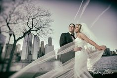 Bride and groom in f
