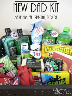 New Dad Kit with free printable tags. Make Daddy feel special with these great ideas for things to put in your kit! Perfect for a baby shower! #MySignatureMove #ad