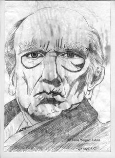 Retrato de anciano anónimo dibujado por Elena Wägner el 21 Sept de 1996.