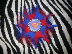 Bottlecap Flower Superman Hair Bow ~ Free Shipping