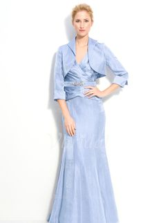 Mother of the Bride Dresses - $172.29 - Trumpet/Mermaid V-neck Court Train Taffeta Mother of the Bride Dress With Ruffle Beading (00805007210)