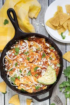 traditional mexican chilaquiles rojos.
