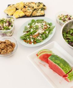 This Week's Lunch: Mixed Greens with Strawberries, Walnuts, and Goat Cheese, Spinach Salad with Sliced Almonds and Dried Apricots, Broccoli and Cauliflower Cabbage Salad, Garlic, Collard Green, and Feta Frittatas, and Gluten-Free Peanut Butter and Chocolate Cookies, Wholeliving.com #lunchbunch #glutenfree #vegetarian