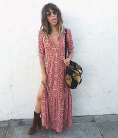 Monday got us like  @pursenboots in the Geneva Maxi Dress  Shop with link in bio. #ForLoveAndLemons #Fall15
