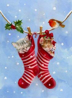noel suite - Page 13 Christmas Scenes, Noel Christmas, Christmas Animals, Vintage Christmas Cards, Christmas Cats, Christmas Pictures, Xmas Cards, Vintage Cards, All Things Christmas