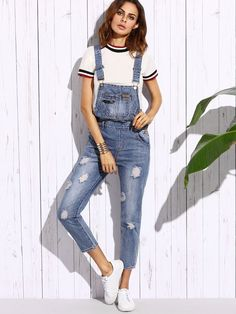 Shein Ripped Bleach Wash Overall Jeans