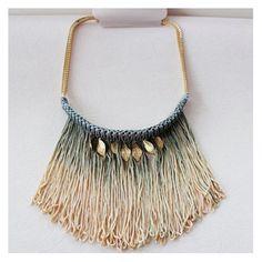 retro long strand necklaces thread flat chain tassel fringe gold leaf necklace