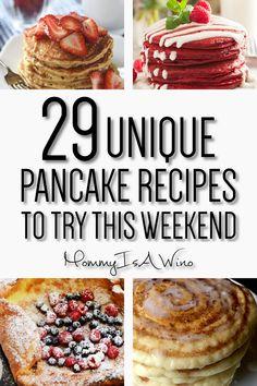 29 Homemade Pancake Recipes - Mommy Thrives - Easy Homemade Pancake Recipes from Scratch – Pancake Recipes for Breakfasts – 29 Unique Pancake - Easy Homemade Pancakes, Pancakes Easy, Homemade Recipe, Fluffy Pancakes, Best Pancake Recipe, Pancake Recipes, Breakfast Recipes, Pancake Flavors, Pancake Ideas
