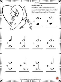 Music Note values. Valentine's Day music math activity sheets. CLICK through to preview the set or SAVE for later! ♫