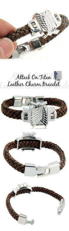 Attack On Titan Leather Charm Bracelet! Click The Image To Buy It Now or Tag Someone You Want To Buy This For.  #AttackOnTitan