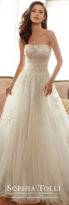 Gorgeous and elegant! Sophia Tolli - Y11706 Harriet - Strapless tulle soft A-line gown.