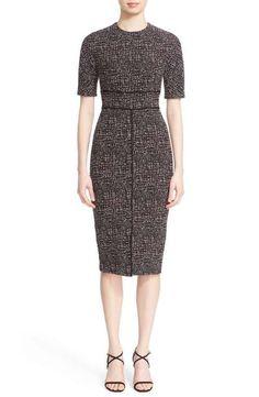 Lela Rose Seamed Jacquard Sheath Dress