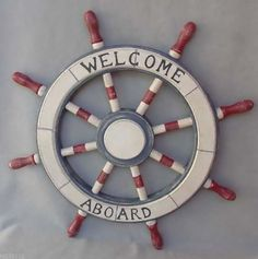 "Red, White and Blue ""Welcome Aboard"" Ships Wheel Nautical Decor"