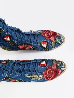Floral Joe Lace Up Boot Lace Up Boots, Free People, Roses, Gucci, Floral, Shopping, Style, Fashion, Lace Up Ankle Boots