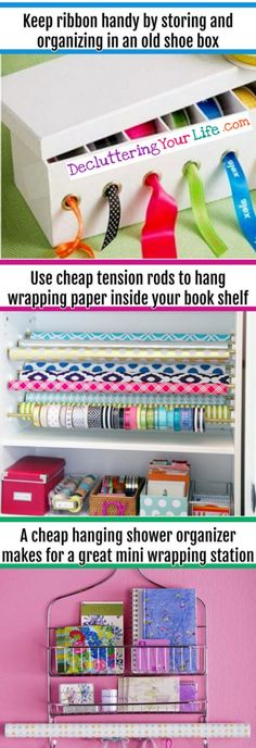 Wrapping supplies organization ideas - wrapping paper organization ideas and hacks for all your gift wrapping supplies.  VERY use DIY organization tips, hacks and ideas #gettingorganized