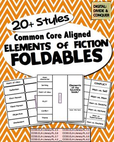 Elements of Fiction Foldables. Over 20+ Styles! Common Core Aligned. Hands on learning for all!