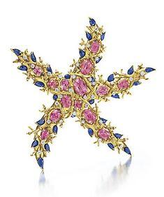 Turmalínová diamantová brošňa so zafírmi Jean Schlumberger