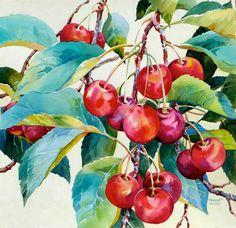 """Cheery Cherries"" - Bridget Austin on We Heart It Watercolor Fruit, Fruit Painting, China Painting, Watercolor Artists, Watercolor Landscape, Watercolor And Ink, Watercolor Illustration, Watercolor Flowers, Watercolor Paintings"