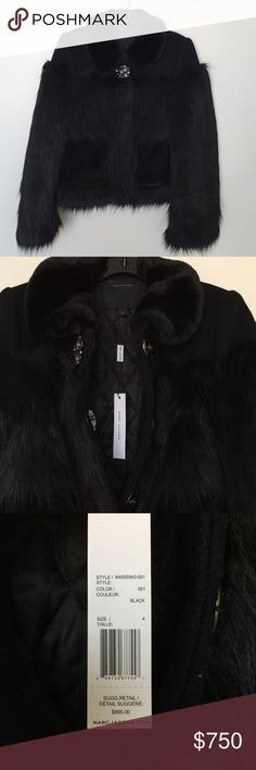 Marc Jacobs Fall 2016 Faux Fur Jacket Long hair faux fur jacket - super warm and chic!  Crystal broach closure , functional pockets , and soft faux fur collar. New with tags, never worn! Marc Jacobs Jackets & Coats