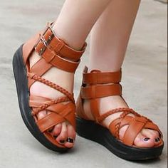 Buckled Strappy Platform Sandals by Smoothie