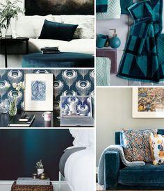 Inspiration déco autour de la couleur bleu paon.