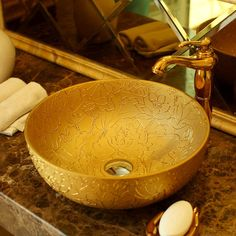 Round Bathroom Lavabo Ceramic Counter Top Wash Basin Cloakroom Hand Painted Vessel Sink bathroom sink gold antique wash basin