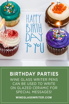 Wine Glass Writer pens can be used to write on glazed ceramic for special messages. When planning the party, use them as a giveaway. Guests can use their pen to keep track of which glass they have been using. #birthdays #birthdayparty #birthdaydecor Wine Parties, Wine Charms, Glazed Ceramic, Birthday Decorations, Pens, Wine Glass, Giveaway, Birthday Parties, Writer