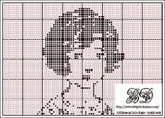 Free cross-stich chart-vintage girl