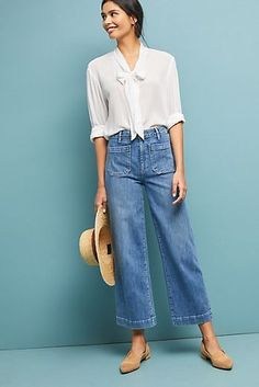 Paige Nellie High-Rise Culotte Jeans - Cut From Casual - Wide Jeans, Cropped Wide Leg Jeans, Jeans Denim, High Rise Jeans, Wide Leg Pants, Jeans Pants, Culotte Style, Jean Outfits, Casual Outfits