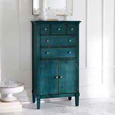 Chloe - tall chest in antique blue