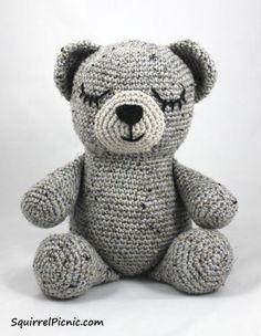 Sleepy Bear, Free Crochet Pattern by Squirrel Picnic, stuffed toy, amigurumi, #haken, gratis patroon (Engels), beer, knuffel, speelgoed, #haakpatroon