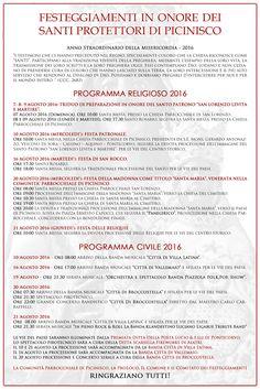 programma religioso e civile delle Feste Patronali di Picinisco...