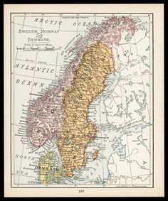 NORWAY SWEDEN Map Years Old Map Of Scandinavia Antique Maps - Norway map to print