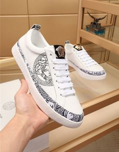 Mens Fashion Casual Shoes, Sneakers Fashion Outfits, Casual Sneakers, Men's Sneakers, Versace Sneakers, Versace Shoes, Louis Vuitton Men Shoes, Fake Shoes, Yeezy Shoes