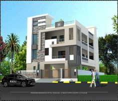 3 Storey House Design, Duplex House Design, House Front Design, Building Elevation, House Elevation, Front Elevation Designs, Room Door Design, Facade, Interiors