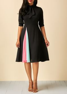 Patchwork Tie Neck Half Sleeve Black Dress | Rosewe.com - USD $32.32