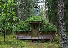 Sod-roofed cabin in Sweden
