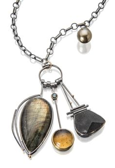Sydney Lynch -   Volcano Cluster necklace: Labradorite, citrine, tourmaline, black tourmaline crystal, Tahitian pearl, oxidized silver, 18k  22k gold.  Cluster is 2 3/4 inches long on a 28 inch silver chain.   $2860.