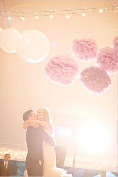 strands of lights, paper lanterns & pom poms <3{Glass Jar Photography via the wedding chicks}
