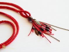 Crochet Bracelet and Necklace in one piece . Simple, beautiful and lightweight Crochet Bead Necklace Statement Textile Necklace Feel the magic touch of Nature! This unique boho necklace is suitable for everyday use as well as to special occasions. I picked these red colour because I think they look great together and match with many different outfits.  Enjoy it