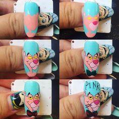Rose Gold Nails, Pink Nails, Gel Nails, Nail Art Dessin, Cartoon Nail Designs, Nails For Kids, Kids Manicure, Manicure Ideas, Pop Art Nails