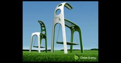 GIRAFFE STREET LAMP  A mix of a streetlight, a swing and a giraffe, this conceptual project harnesses the kinetic energy produced each time someone swings back and forth on its seat to power a super-efficient LED light. As a backup to the kinetic energy supplied by people, the Giraffe uses an elevated solar panel hood to soak up the solar variety, storing it in a battery for later use.