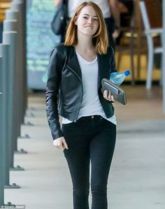 Casual cool: The Birdman actress rocked a black leather biker jacket over a white top and skinny black jeans