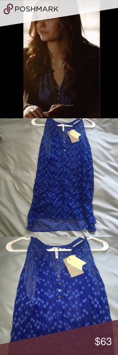 ZOA Dotted Silk Tank ASO Elena Gilbert Elena Gilbert Anthropologie ZOA New York silk dotted tank. Size Medium. Brand new with original tags still attached. Retails for $118 plus tax. Rare and gorgeous! Anthropologie Tops Tank Tops