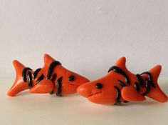 Tiger Shark Post Earrings made from polymer clay and sterling silver. on Etsy, $9.50 AUD