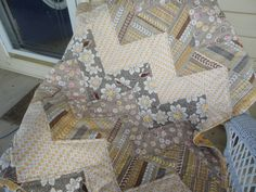 The fabrics are Daisy Cottage with a chevron pattern, love the colors
