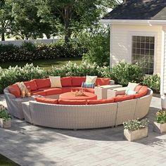 Outdoor Seating, Outdoor Fun, Outdoor Spaces, Outdoor Living, Outdoor Decor, Outdoor Couch, Stone Table Top, Aluminum Table, Round Ottoman