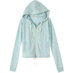 Victoria's Secret Marled Draw-Tie Hoodie (65 BRL) ❤ liked on Polyvore featuring tops, hoodies, hooded sweatshirt, zip front hoodie, victoria secret hoodie, green hoodies and tie back top